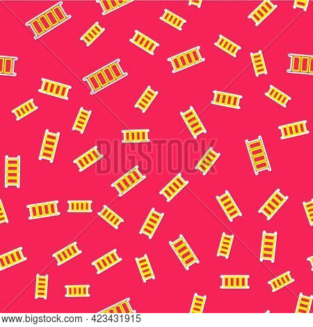 Line Fire Escape Icon Isolated Seamless Pattern On Red Background. Pompier Ladder. Fireman Scaling L