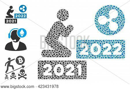Collage Man Pray Ripple 2022 Icon United From Abrupt Parts In Various Sizes, Positions And Proportio