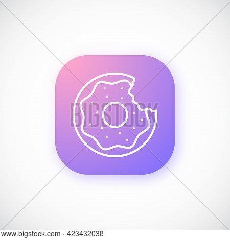 Line Donut Icon. Bright Glowing Donut Design Template For Ui, Ux And Website. Vector Illustration.