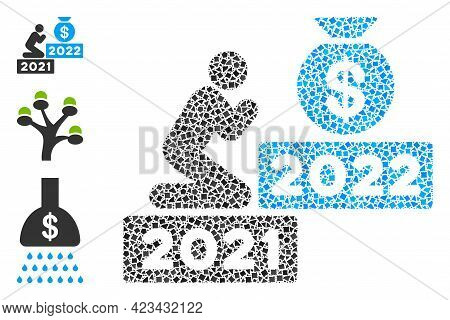 Mosaic Pray For Money 2022 Icon Designed From Rough Spots In Variable Sizes, Positions And Proportio