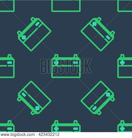 Line Car Battery Icon Isolated Seamless Pattern On Blue Background. Accumulator Battery Energy Power