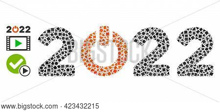 Mosaic Start 2022 Caption Icon Designed From Raggy Spots In Various Sizes, Positions And Proportions