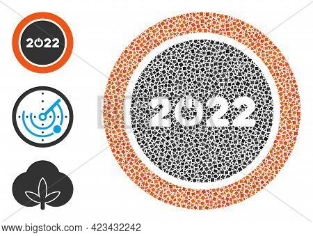 Mosaic Start 2022 Round Button Icon United From Tremulant Items In Random Sizes, Positions And Propo