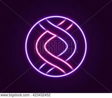 Glowing Neon Line Dna Symbol Icon Isolated On Black Background. Genetic Engineering, Genetics Testin