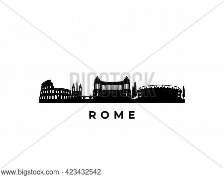Vector Rome Skyline. Travel Rome Famous Landmarks. Business And Tourism Concept For Presentation, Ba
