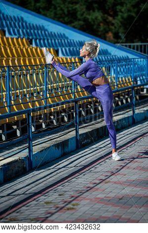 Sexy Fitness Woman Stretching In Sportswear On Stadium, Stretch