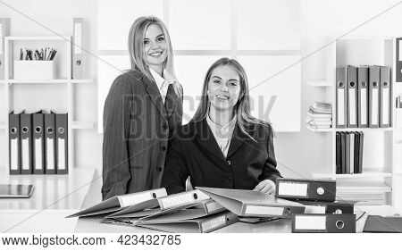 Together In Business. Businesspeople In Office. Businesswoman At Workplace. Too Much Work With Docum