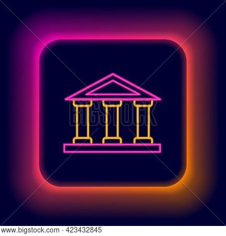 Glowing Neon Line Courthouse Building Icon Isolated On Black Background. Building Bank Or Museum. Co