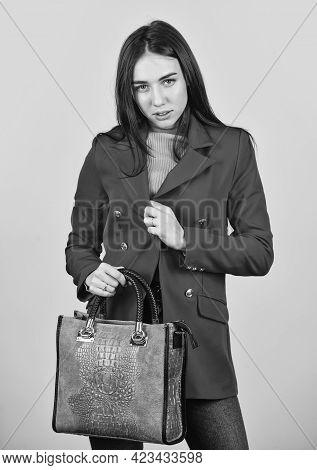 Stylish Accessories. Beauty Brunette. Fashionable Woman In Jacket. Fashion Autumn Winter. Female Tre