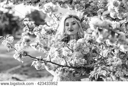 Summer Relaxation. Girl Has Long Curly Blonde Hair. Healthy Beauty. Pink Sakura Flowers. Natural Bea