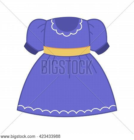 Lush Dress With Blue Lantern Sleeves. Summer Clothes For Kids Girls. Vector Illustration Of Clothes,
