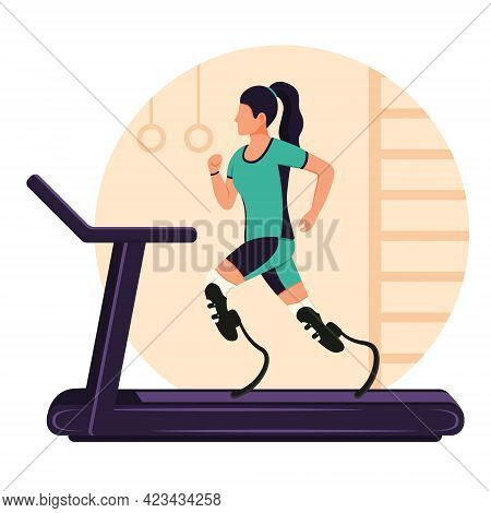A Girl With Prosthetic Legs Runs On A Treadmill. A Disabled Woman Is Running. Rehabilitation For Phy