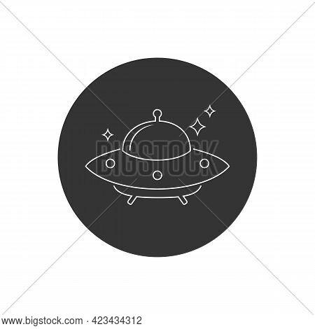Ufo Flying Saucer Line Icon. Vector Illustration