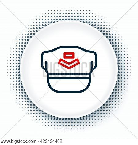 Line Pilot Hat Icon Isolated On White Background. Colorful Outline Concept. Vector