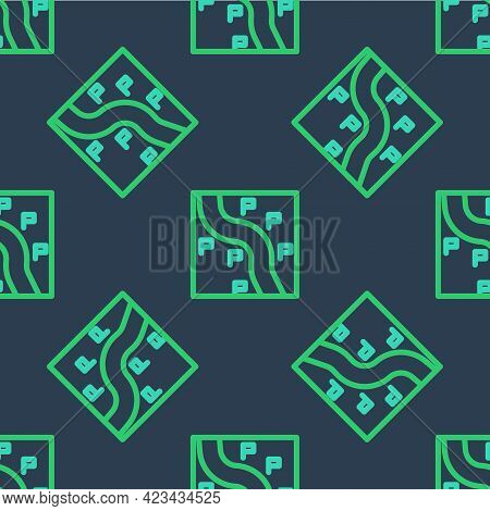 Line Route Location Icon Isolated Seamless Pattern On Blue Background. Train Line Path Of Train Road