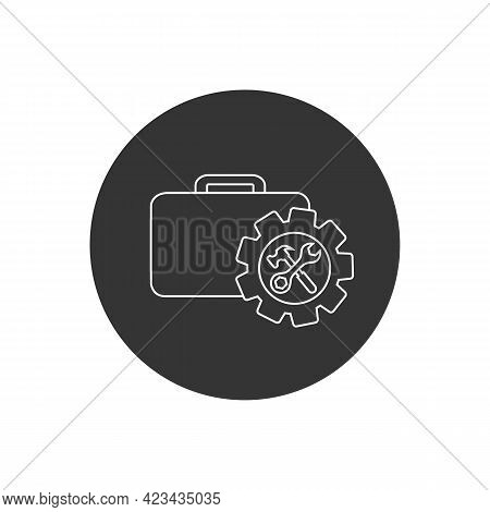 Toolbox With Instruments Inside Line Icon. Workmans Toolkit. Workbox In Icon Style. Vector Illustrat