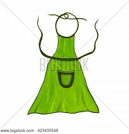 Kitchen Green Apron Isolated On White Background. Icon. Clothes For Cafes, Cooks, Housewives. Protec