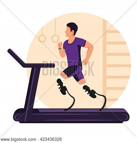 A Boy With Prosthetic Legs Runs On A Treadmill. A Disabled Man Is Running. Rehabilitation For Physic