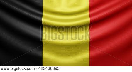 Hanging Wavy National Flag Of Belgium With Texture. 3d Rendering.