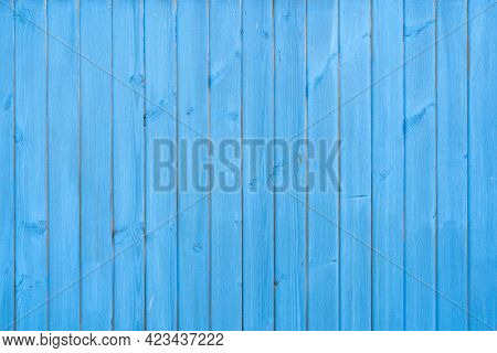 Old Wood Vintage Planks Covered With Flaky Blue Paint. Wood Texture.