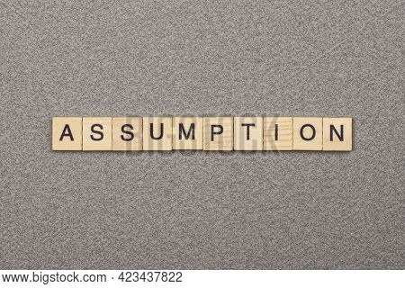 Text The Word Assumption From Wooden Small Letters With Black Font On An Gray Table