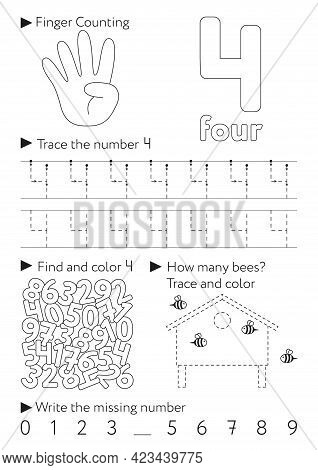 Worksheets For Learning Numbers. Learning And Activity For Kids. Number 4. Four. Black And White Ill