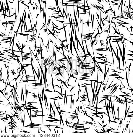 Seamless Abstract Pattern In The Form Of Broken Black Lines Chaotically Located On A White Backgroun