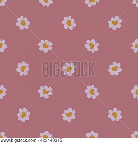 Seamless Pattern Of Golden Hearts In The Center Of Daisies On A Dark Pink Background For Prints On F