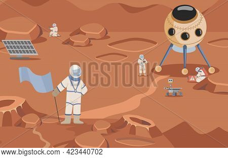 Space Explorers In Spacesuits Making Researches Vector Flat Illustration. Astronauts And Rovers Walk