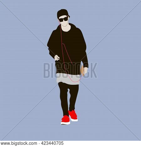 Vector Illustration Of Kpop Street Fashion. Street Idols Of Koreans. Kpop Male Fashion Idol. The Guy