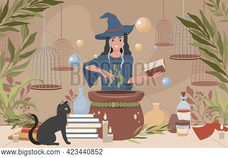 Happy Smiling Woman In Witch Hat And Blue Dress Preparing Magic Poison Using Book Vector Flat Illust