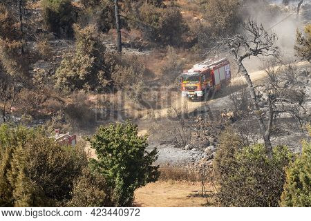 Maale Hahamisha, Israel - June 10th, 2021: An Israeli Fire Engine After Extinguishing A Large Forest