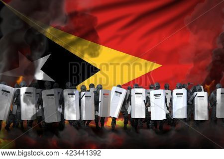 Timor-leste Police Squad In Heavy Smoke And Fire Protecting State Against Riot - Protest Stopping Co