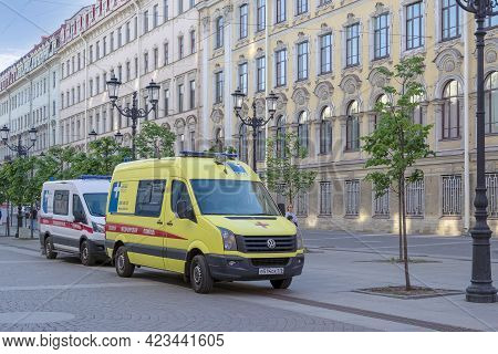Saint Petersburg, Russia - May 10, 2021. Two Modern Ambulance Cars On The City Street. Selective Foc