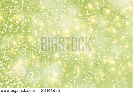 Yellow glitter on a lime green background