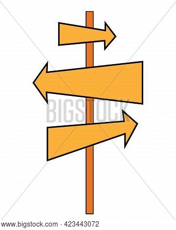Direction Road Signs - Arrows Pointer Isolated On White Background. Road Sign. Vector Pointer. Direc