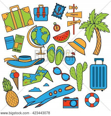 Travel Set, Adventure Or Business Trip. Elements Doodle Hand Drawn, Engraved Vector. Planning Summer