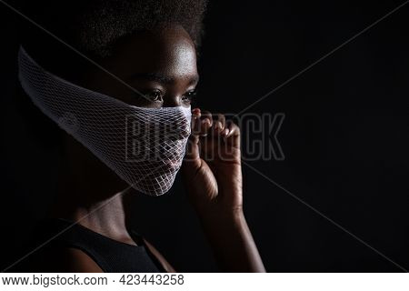 Closeup Portrait Of African American Dark Skin Woman Fashion Model Wearing Quarantine Medical Face M