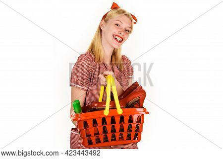 Smiling Girl With Shopping Basket. Happy Woman At Supermarket. Buying Spree. Female With Shopping Ca