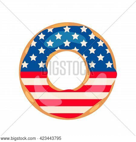 American Patriotic Donut With Flag Of Usa On The Glaze. Independence Day Doughnut. Vector Template F