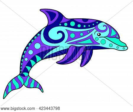Dolphin - Vector Linear Full Color Zentangle Illustration - With Marine Mammal Animal. Template For