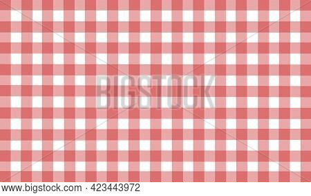 Red White Brown Vintage Checkered Background. Space For Graphic Design. Checkered Texture. Classic C