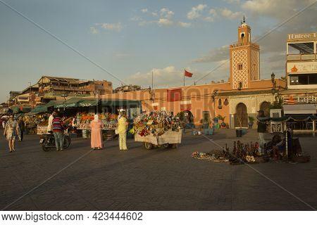 Marrakesh, Morocco. 29 September 2017.  Trading In The Square Jemaa El-fna, Marakesh, Morocco.