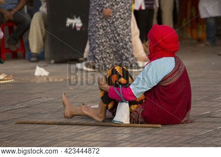 Marrakesh, Morocco. 29 September 2017. The Poor Beggar On The Street Of Marrakesh, Morocco.