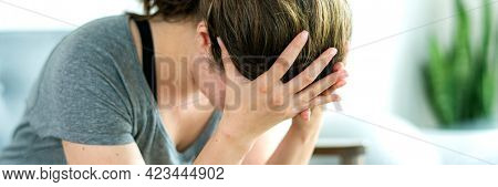 Emotionally stressed woman not feeling well
