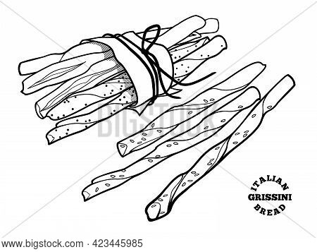 Italian Bread Grissini. Vector Outline Illustration In Doodle Style For Cafe And Bakery Menu Or Logo