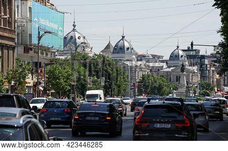 Bucharest, Romania - June 06, 2021: View Of Bucharest With Coltea Hospital,  Built Between 1867-1888