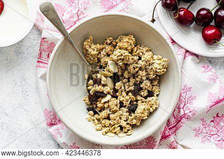 Roasted cherry greek yogurt breakfast