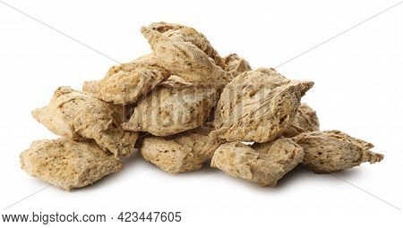 Dehydrated Soy Meat Chunks On White Background