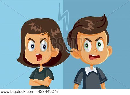 Brother And Sister Fighting Vector Cartoon Illustration